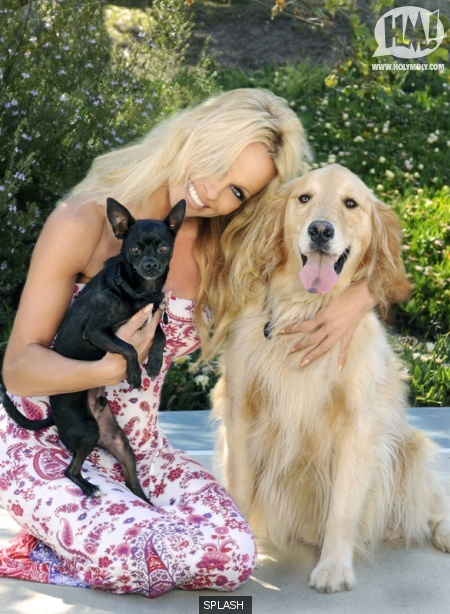 Pam Anderson and her Fur Kids