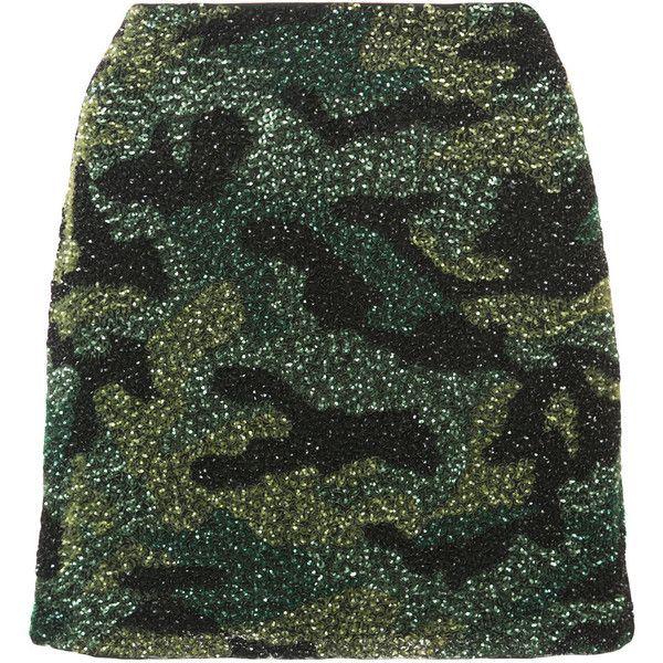 Alice+Olivia Elana embellished mini skirt (€495) ❤ liked on Polyvore featuring skirts, mini skirts, green, green skirt, camo print skirt, camouflage mini skirt and short green skirt
