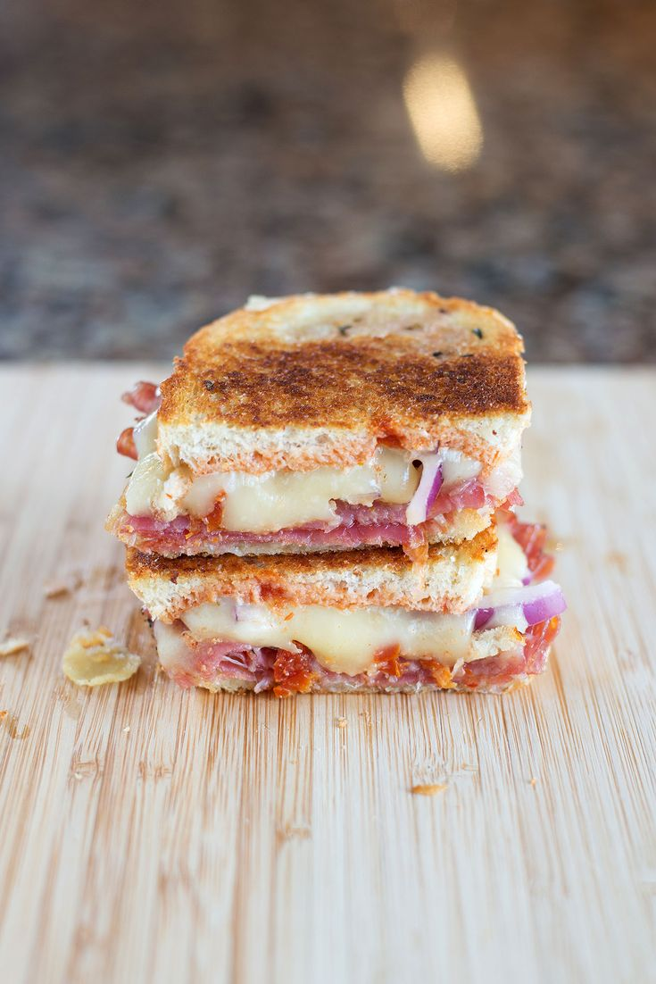 Italian Grilled Cheese, three Italian deli meats, three Italian cheeses, tons of flavor!