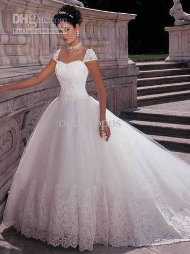 Tulle Cap Sleeves With Free Veil; Petticoat Ball Gown Wedding Dress$139.44-159.04/Piece   DHgate