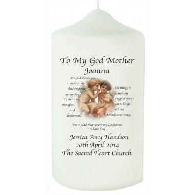 Cherub Godmother Candle. £9.99 #Godmother #ChristeningCandle #GodmotherGifts #PersonalisedGodmotherGifts #PersonalisedChristeningGifts