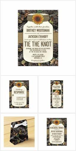 Camo Sunflower WEDDING SET COLLECTION Rustic Country Chic  Mason Jar Camouflage Wedding Invites Announcements Invitations RSVP Favors Thank You Cards & More!