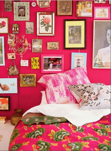 ...Wall Colors, Bohemian Interiors, Boho Chic, Pink Room, Pink Wall, Bohemian Style, Pink Bedrooms, Gallery Wall, Pictures Wall