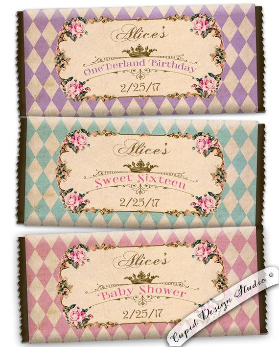 Alice in wonderland Candy bar wrapper. Chocolate bar wrapper.