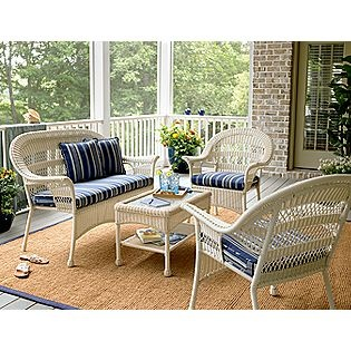 White wicker patio furniture would look so good out by the river.