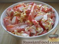 """Блюда из крабовых палочек очень разнообразны, их можно делать весьма простыми, а можно придумать и изысканный вариант.  Салат """"Красное море"""""""