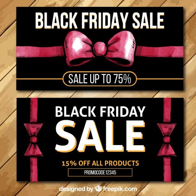 Free vector hand painted black friday banners with red ribbons #27461