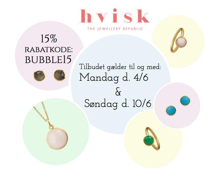 Hos Hvisk kan vi ikke få nok af vores Bubble collection, derfor gives der nu 15% rabat på de mange smukke smykker! Find collectionen på dette link: http://hvi.sk/r/4P8d Gælder til og med 4/6 og 10/6!