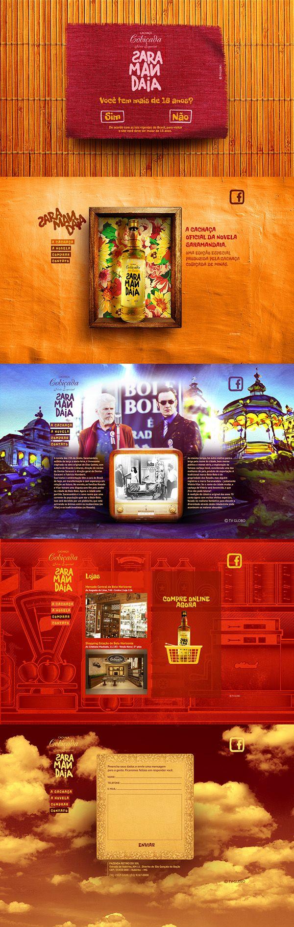 Interface para o site da Cachaça Saramandaia, produto oficial da novela de mesmo…