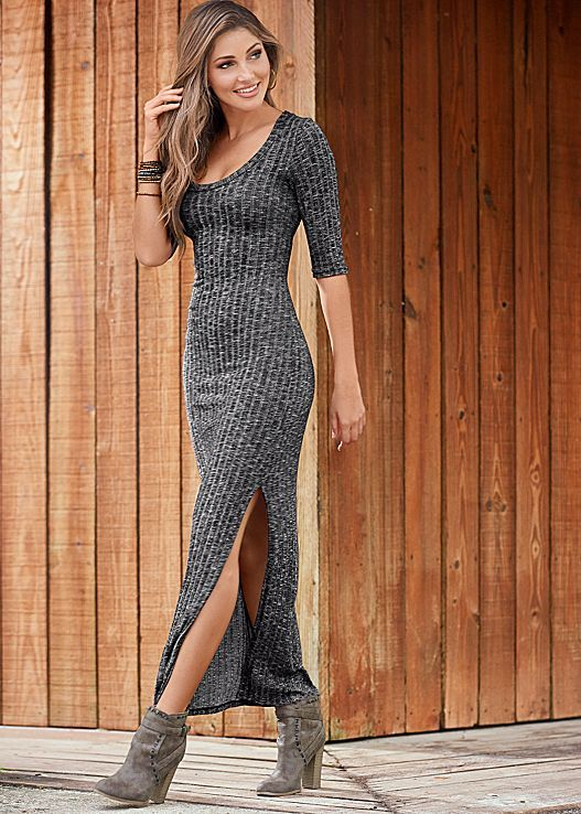 Make your first step into fall a fabulous one in the Venus ribbed maxi dress with Venus wrap studded bootie.
