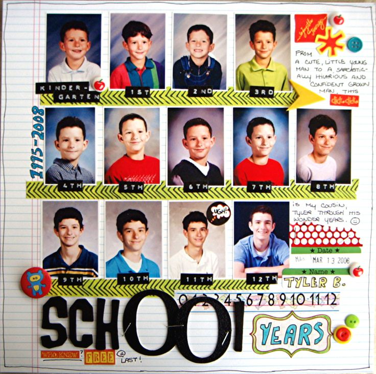 School Years - Scrapbook.com --- Wow, I really want to do a page like this for each one of my kids!