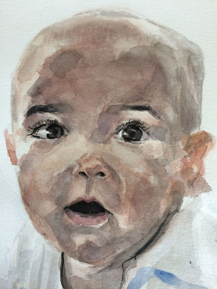 """""""Portrait of a child named G."""" 2014, Watercolor on Paper, A4."""
