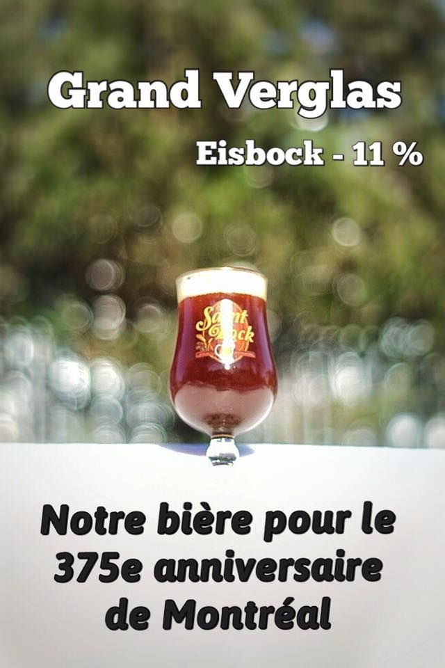 Eisbock, 11 % The Saint-Bock present to you the great ice, a eisbock brewed in honor of the 375th anniversary of the city of Montreal. Available in barrel now! Inspired by the changes in temperature extremes that we can live in Montreal and the crisis of the great 1998 ice, we offer you a eisbock, the great ice. The beers of this style are partially frozen after the fermentation and the ice is separated and withdrawn.