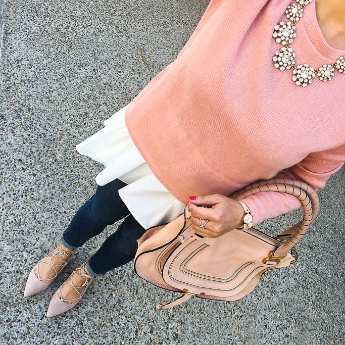 StylishPetite.com | Chloe marcie small leather satchel, Goodnight Macaroon CLASSIC MOCK LAYER SWEATER, Ily Couture juliet necklace, Ivanka Trump Tropica ghillie lace up flats, Loft petite modern skinny jeans