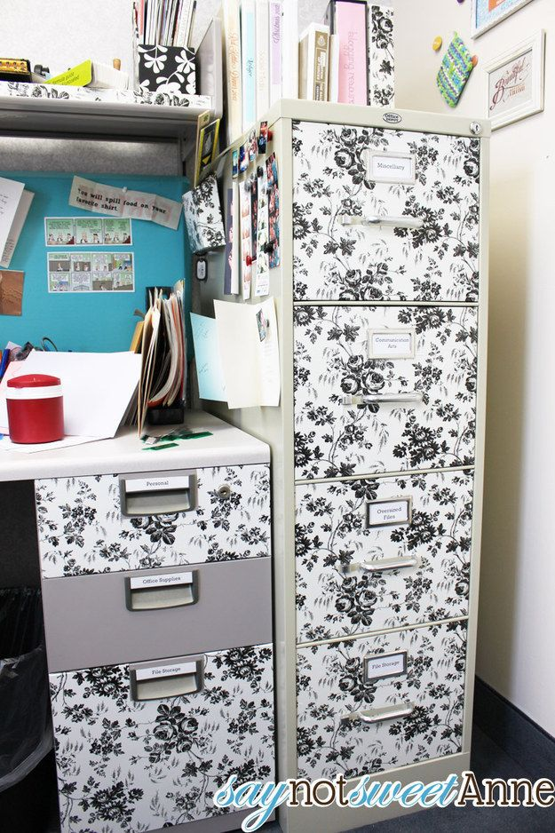 Upgrade your filing cabinets with patterned or colored contact paper. | 54 Ways To Make Your Cubicle Suck Less