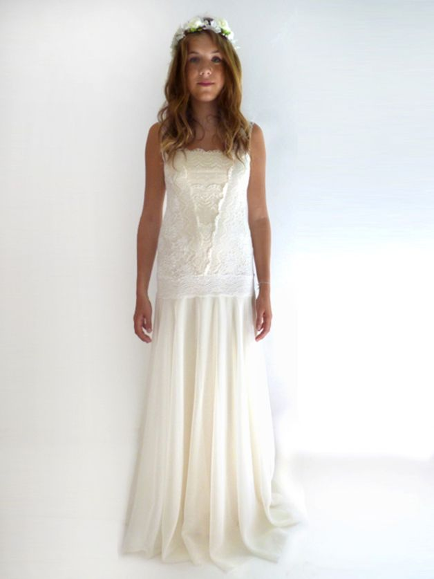 This is a custom made dress.  Unlike the traditional bridal dresses, you will feel light and comfy in my dresses yet not compromising the ethereal romantic look. GRACE gown is a romantic flapper...