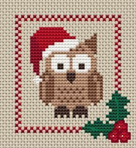 free Christmas Owl Cross Stitch chart, available from http://hollyshobbiescrossstitch.wordpress.com/category/free-charts/