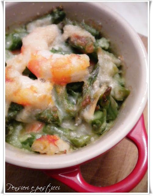 Venerdì…pesce: cocottine gamberi ed asparagi al parmigiano