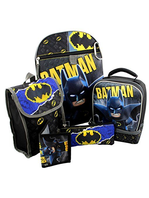 2a953a9c2e5 This awesome Lego Batman 6 piece set includes a 16 inch backpack, a thinly  insulated snack bag, utility pencil case, a wallet, a dual compartment  lunch box, ...