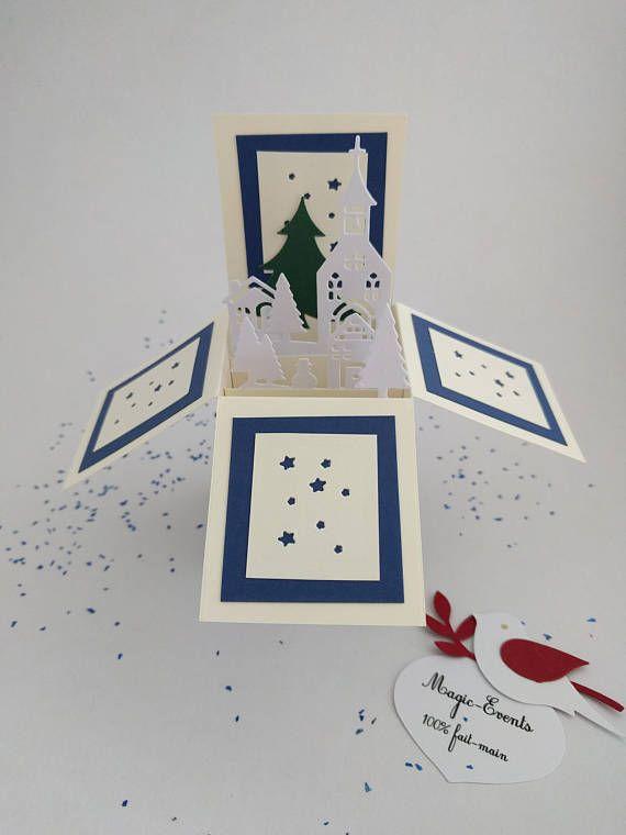 Carte boîte Pop-Up Village de Noël