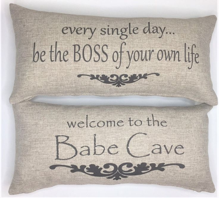 Welcome to the Babe Cave-Be your own boss tan pillow