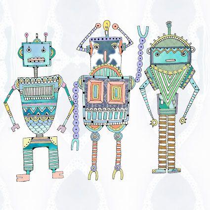 Greeting card - Robot Love by Hannah Davies illustration