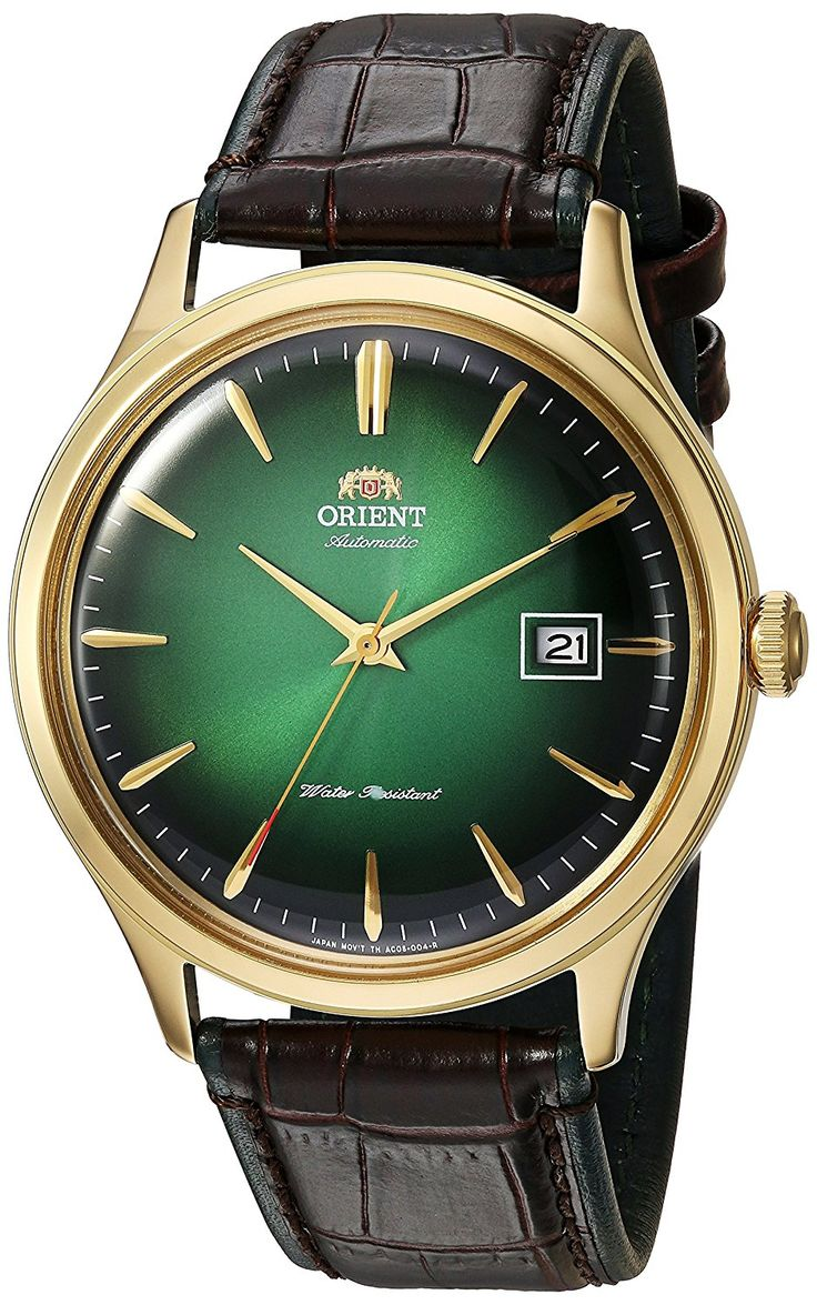 Amazon.com: Orient Men's 'Bambino Version 4' Japanese Automatic Stainless Steel and Leather Dress Watch, Color:Black (Model: FAC08002F0): Watches