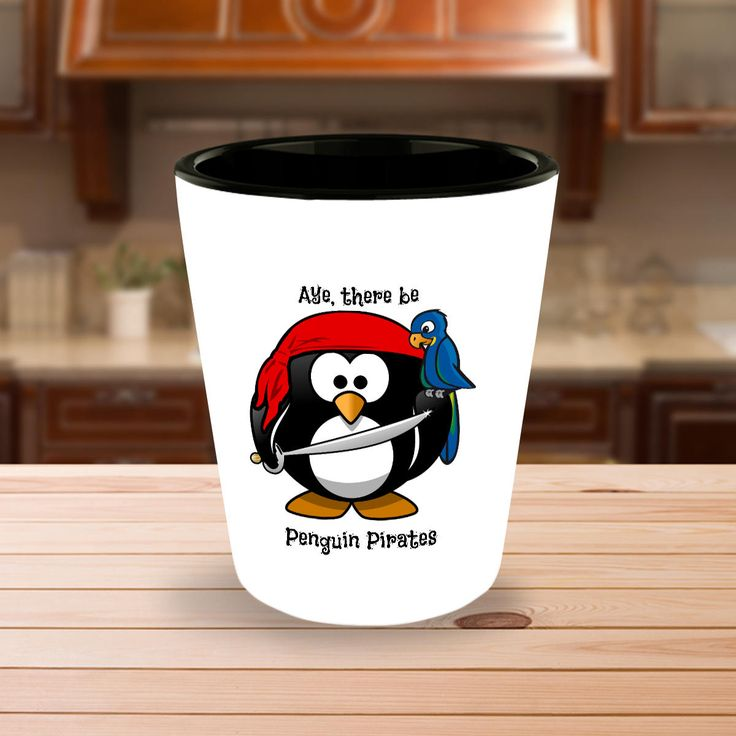 Funny Shot Glasses Gift - Aye, There Be Penguin Pirates with a Parrot - Comes as a Single Glass or a Set of 2 or a Set of 4 by DesignsbyTenaT on Etsy