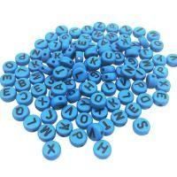 Bokstavspärlor i akryl, blå