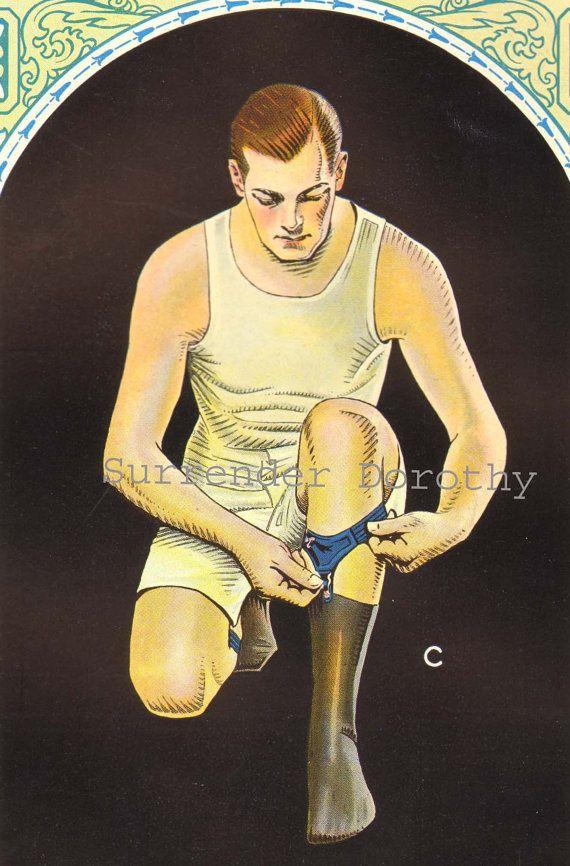Men's Hosiery Garters Gentleman Fashions 1920s Advertisement Art Deco Roaring Twenties Lithograph