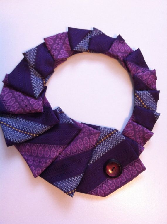 Purple vintage upcycled necktie with vintage button, by Youbetyourprettyneck on etsy