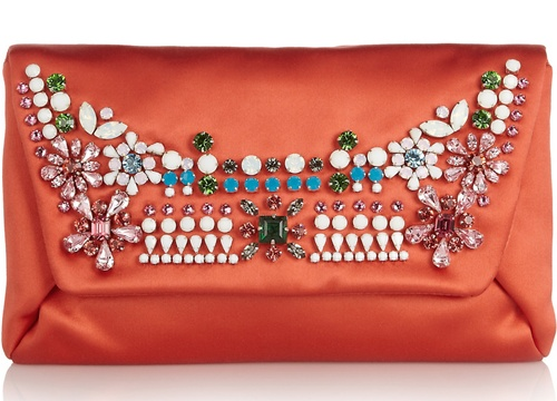 Lanvin Mai Tai Crystal Embellished Satin Clutch