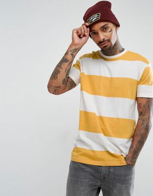 Bershka T-Shirt With Stripes In Yellow And White