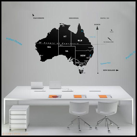 gaga CARTE AUSTRALIE - STICKER : Une carte de lAustralie avec les noms, états, capitales, nom des océans, pays voisins. Sticker, décor, vinyle