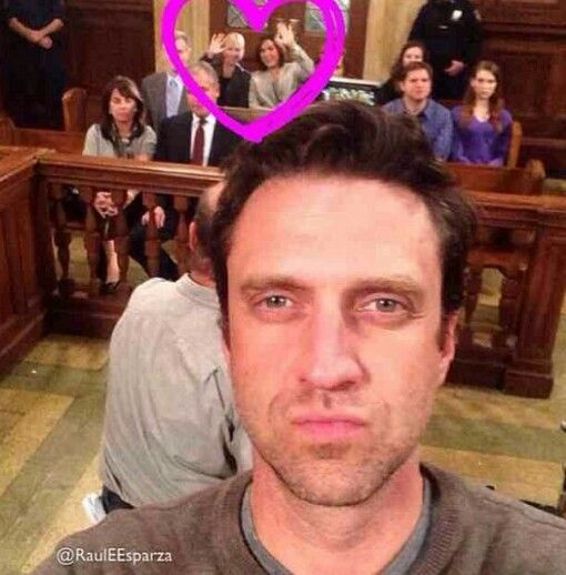Kelli and Mariska photo bomb of Raul Esparza's selfie on the courtroom set. So awesome! So funny! Love you girls. <3