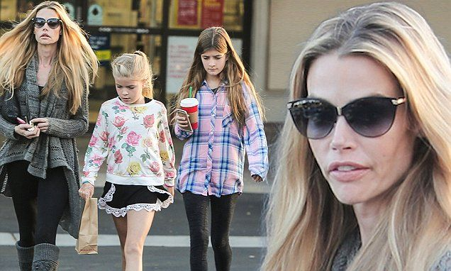 Denise Richards running errands with kids Sam and Lola Sheen in Malibu