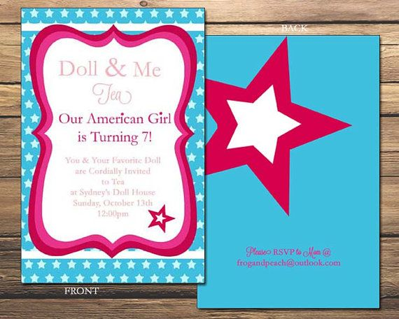 34 best American Girl Doll Birthday Party images – Doll Party Invitations