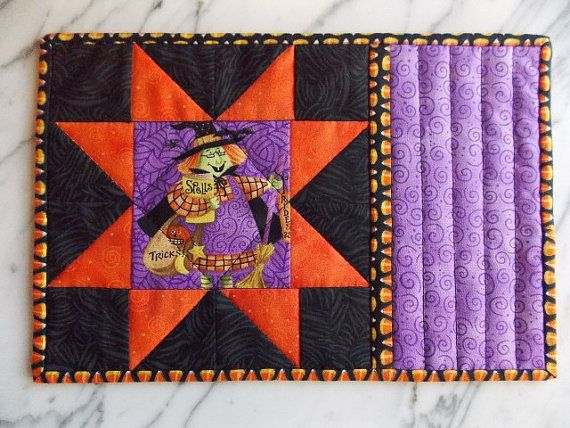 Halloween Mug Rugs Mini Quilts Place Mats Candle By KeriQuilts