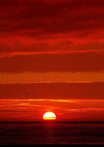 The sun setting over a beautiful Norfolk beach.