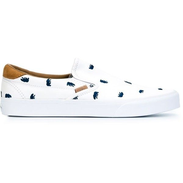 Vans Slip-on Sneakers (130 NZD) ❤ liked on Polyvore featuring shoes, sneakers, white, vans footwear, white sneakers, genuine leather shoes, leather slip on sneakers and white trainers