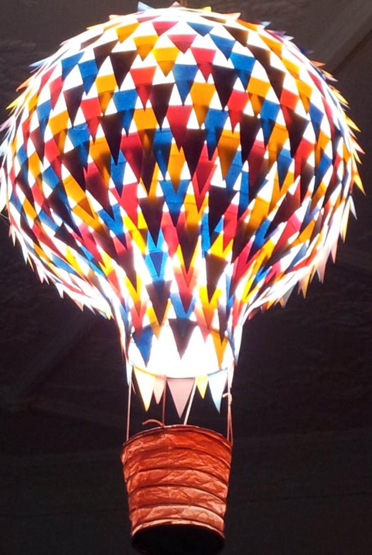 Hanging paper light shade - Colourful Hot Air Balloon - Nursery Lighting, Childrens Rooms. $45.00, via Etsy.