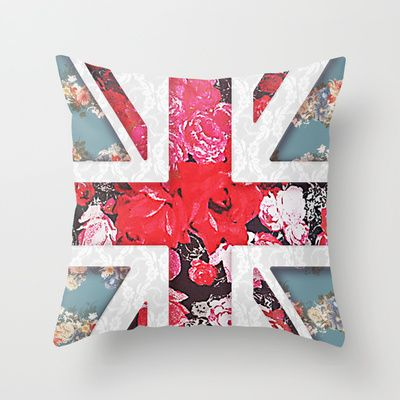 God save the Queen | Elegant girly red floral & lace Union Jack  Throw Pillow by Girly Trend - $20.00