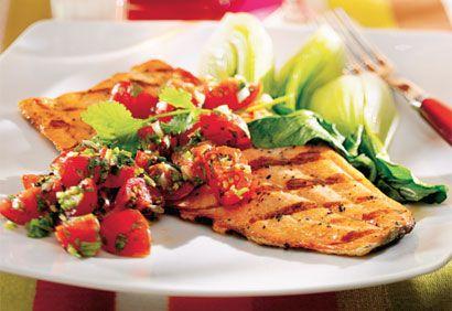 Filets de truite, relish aux tomates cerises (en francais)