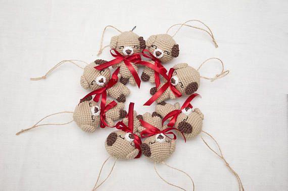 Beige crochet  DogTiny baby toy   stuffed plush animal dog