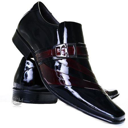 Sapato Social Couro Envernizado Masculino Stilo Italiano - R$ 179,90