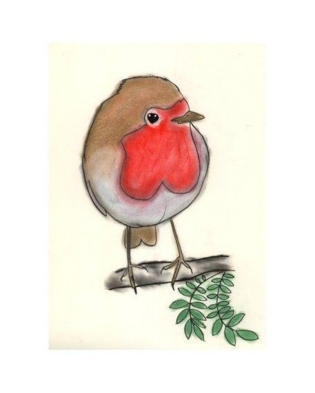 "Robin Bird Art - Little Round Robin drawing (4"" X 6"" print). $6.50, via Etsy."