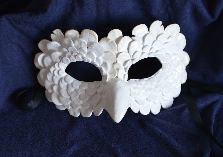 Snow Owl Mask - Masquerade Mask - Sculpture - OOAK