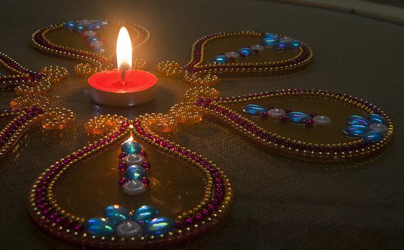 Yellow base pink and blue beads  Reusable Diwali by Shimmeria