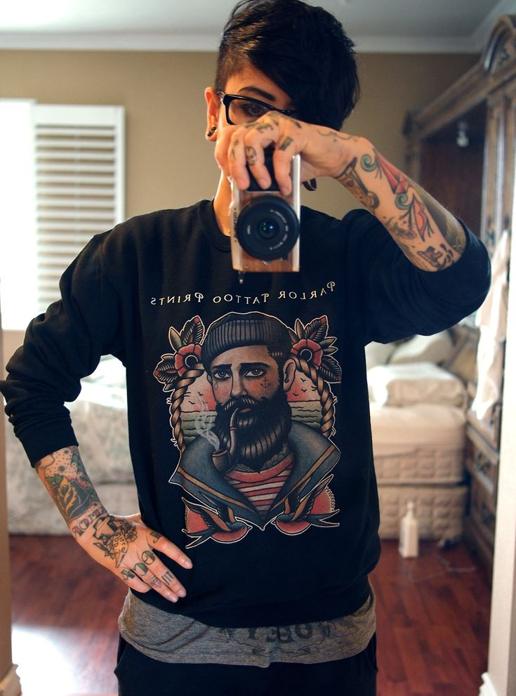 Flash Paintings by Quyen Dinh • Parlor Tattoo Crewneck sweatshirt sample just arrived. tomboi eye candy