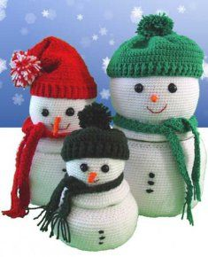 """PA872 Frost Family Goodie Containers Crochet Pattern- Snowmen are considered a symbol of the Christmas holidays and winter season for many people. rost Family Goodie Containers Pattern includes instructions for three sizes of snowmen; Dad, mom and small child. Skill Level: Easy. Size: Large Size (Dad) 12 ½"""" Tall; Medium Size (Mom) 10"""" Tall; Small Size (Child) 7 ½"""" Tall."""